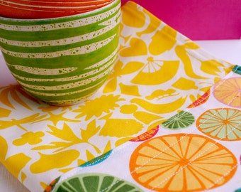 Yellow Fruit Tea Towel
