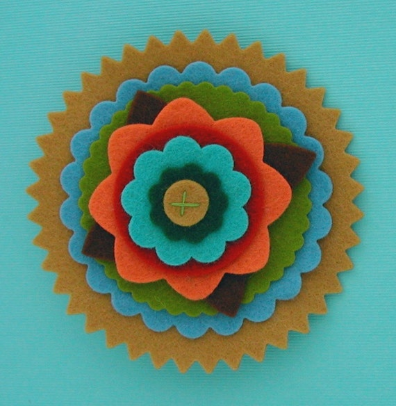 Colorful Wool Felt Flower Brooch