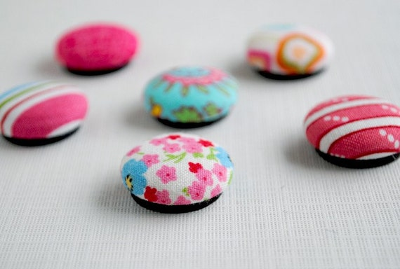 Pink and Blue Fabric Covered Button Magnets