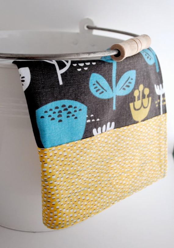 Grey, Blue and Yellow Cotton Tea Towel