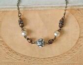 Estate style vintage brown beaded  rhinestone and pearl necklace..Simple Elegance