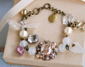 vintage ooak repurposed reclaimed glass beaded charm bracelet..Remembered.tiedupmemories
