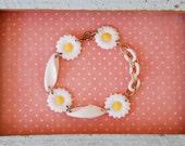 Happy daisy. vintage asssemblage bracelet. Tiedupmemories