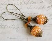 FALL  days.Sparkling burnt orange beaded crystal earrings. Tiedupmemories