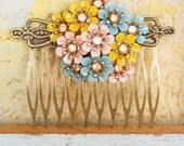 Pastel flower bouquet. floral hair comb. Tiedupmemories