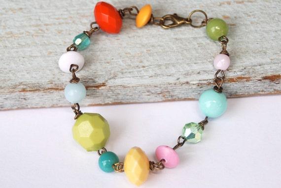 Candy coated vintage beaded bracelet