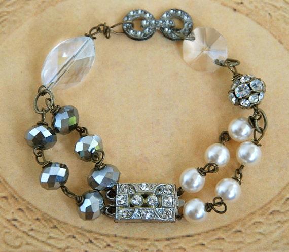 Art deco style ooak vintage assemblage rhinestone beaded bracelet...Irresistible