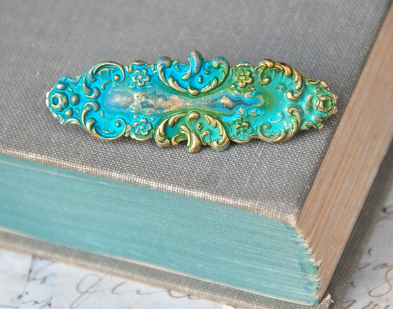 Ornate aqua green patina barrette. Tieupmemories