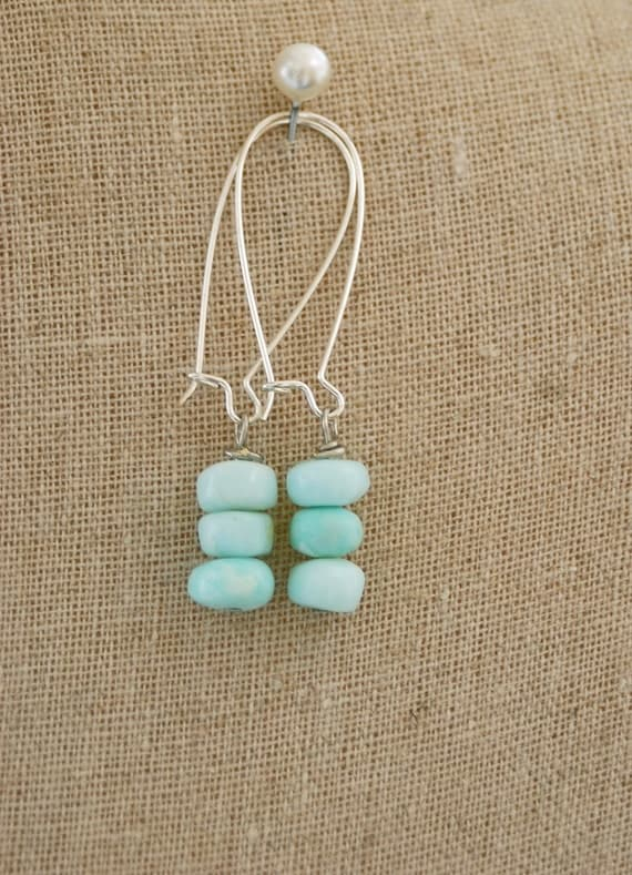 Ocean Bound. Natural opal stone beaded earrings. Tiedupmemories