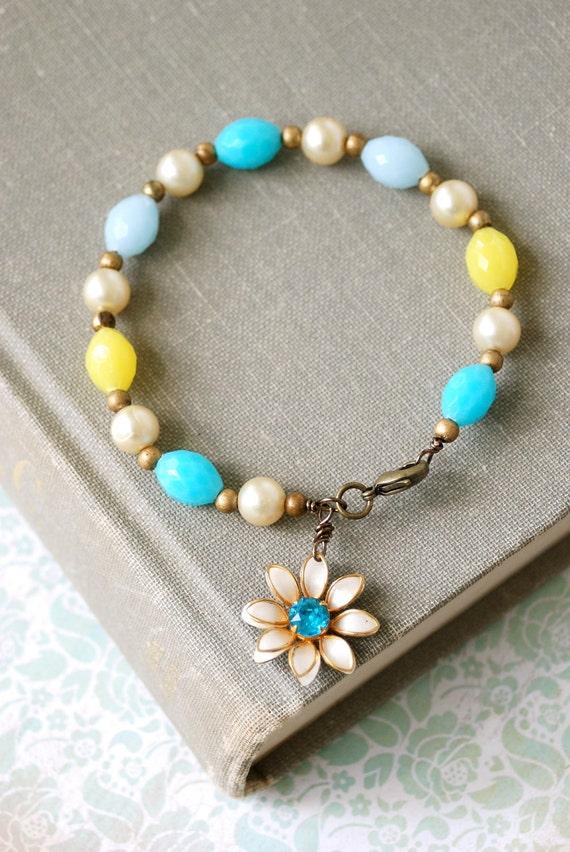 Summer fling.vintage beaded, flower ,aqua blue rhinestone, charm bracelet. tiedupmemories