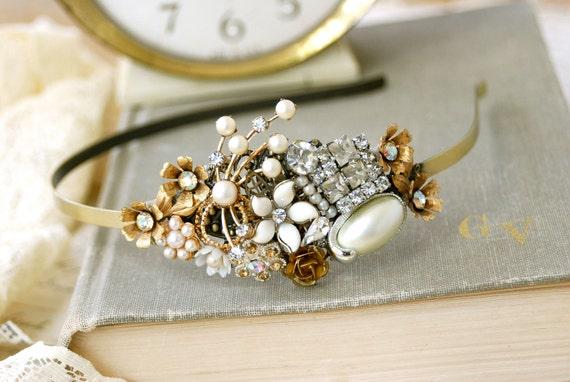 Romancing the bride. wedding,bridal,shabby chic,rhinestone,gold tone,pearl,collage headband. Tiedupmemories