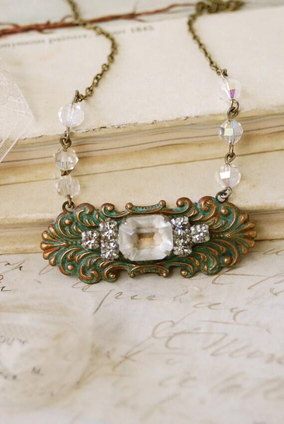 Modern Elegance.vintage rhinestone crystal beaded necklace. Tiedupmemories