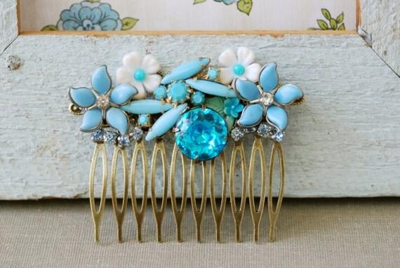 Blue garden. floral collage hair comb. Tiedupmemories