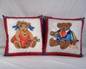 Pair of Teddy Bears Throw Pillows