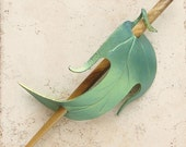 Shimmering Elf Leaf Barrette Hairstick or Hair Stick