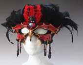 CUSTOM Beaded Leather Bird Mask