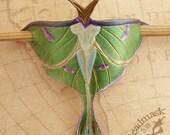 Little Luna Moth Barrette Hair Stick or Hair Slide