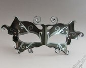 Leather  Mask  - Dark Fairy in Black, Pewter and Silver