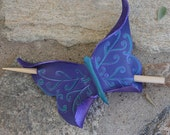 Purple Butterfly Hair Slide, Leather Barrette or Hair Stick In Purple And Teal