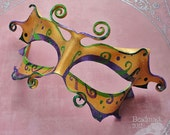 Leather  Mask  - Mardi Gras Fairy In Gold With Green And Purple Swirls