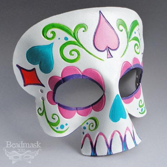 Calavera Leather Mask - Day Of The Dead Sugar Skull - Halloween Masquerade Dia de los Muertos