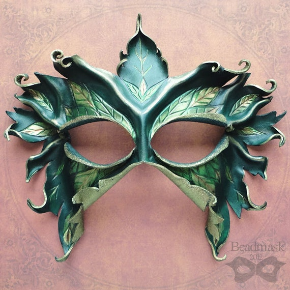 Sculpted Leather Mask - Lady Of The Leaves - Made To Order