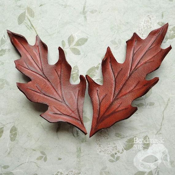 Autumn Oak Leather Leaf Barrette In Earthy Browns