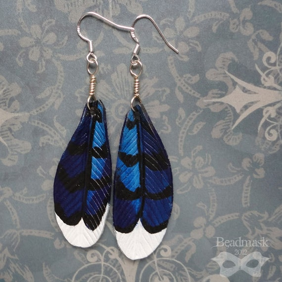 Blue Jay Feather Leather Earrings With Sterling Silver