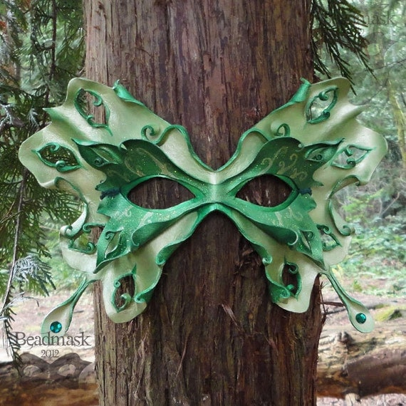Absinthe Fairy Leather Mask In Chartreuse And Emerald Green