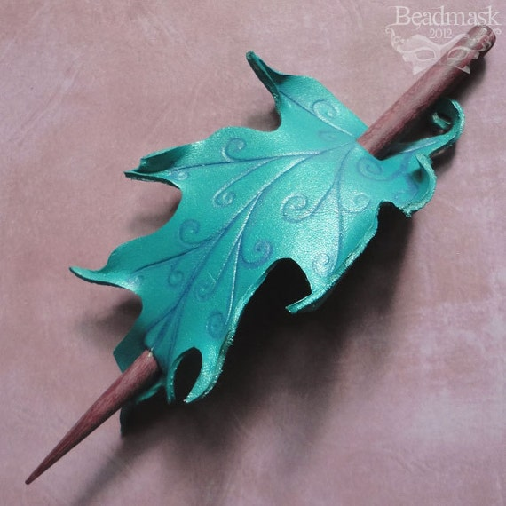 Faerie Leaf Leather Hair Slide or Barrette  - Teal Blue Oak