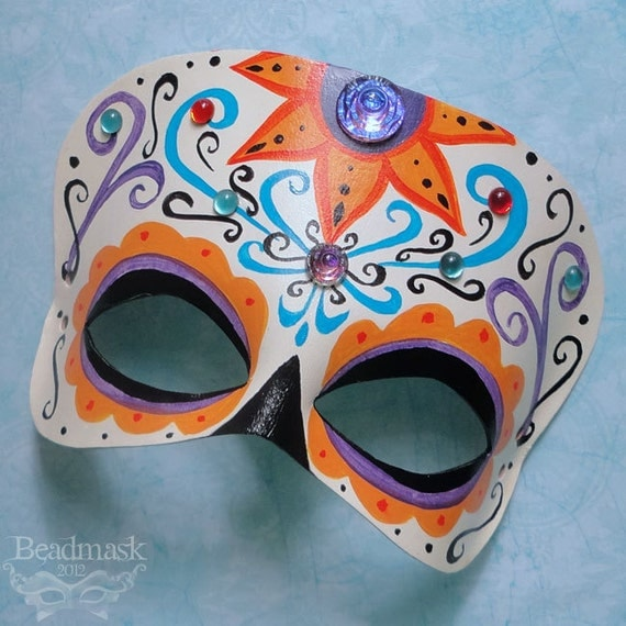 Reserved for Emily -- Calavera Leather Mask With Vintage Glass Stones - Dia De Los Muertos