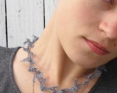 Sea Lace, a delicate necklace knitted with silk and stainless steel wire yarn and beads.  Knitting PDF pattern