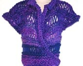 Lacy wrap sweater womens one size in purple and royal blue hand knit openwork cap sleeved