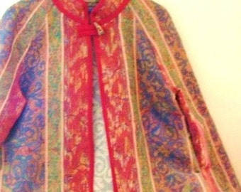 Asian style coat loungewear housecoat tapestry like fabric large plus for men or women vintage