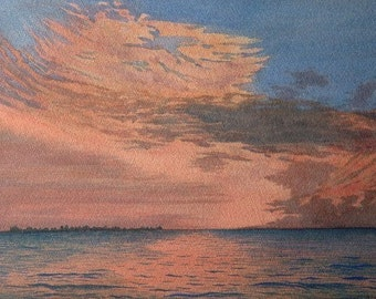 "Original signed watercolour ""Sailors' Delight"" Skyscape and still lake"