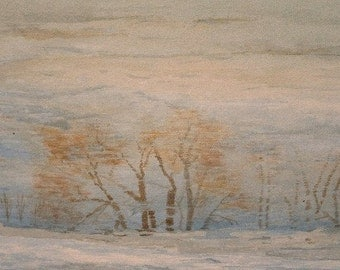 """Original watercolor painting """"Winter Reflections"""" reverse tree reflections on ice"""