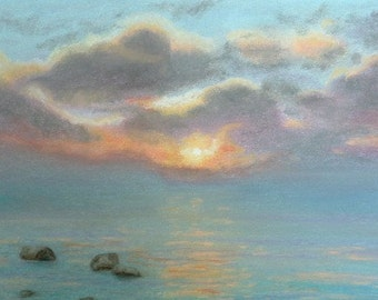 """Skyscape and water soft pastel painting """"Stone Water Sunrise"""" signed original unframed lake painting"""
