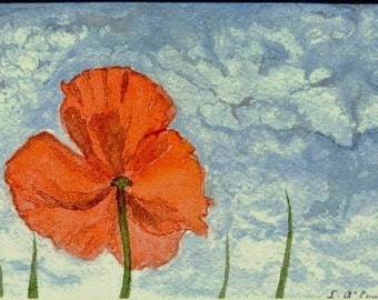 """Original poppy painting """"Can-Can dancer"""" Signed original water color painting."""