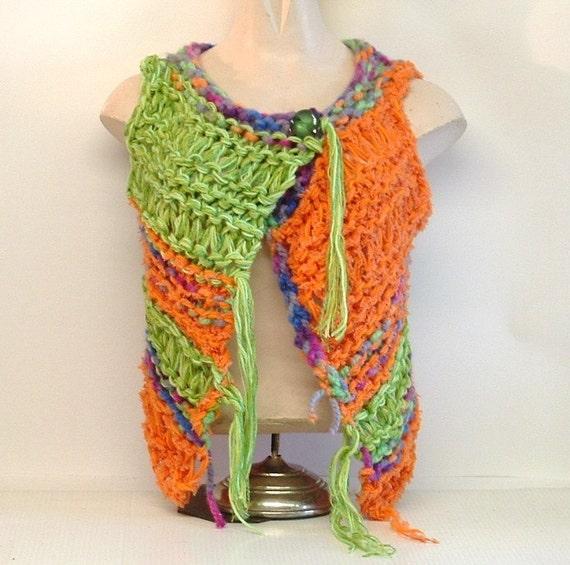 SALE Lacy wrap vest skimpy lacy chunky knit openwork handknit womens small medium