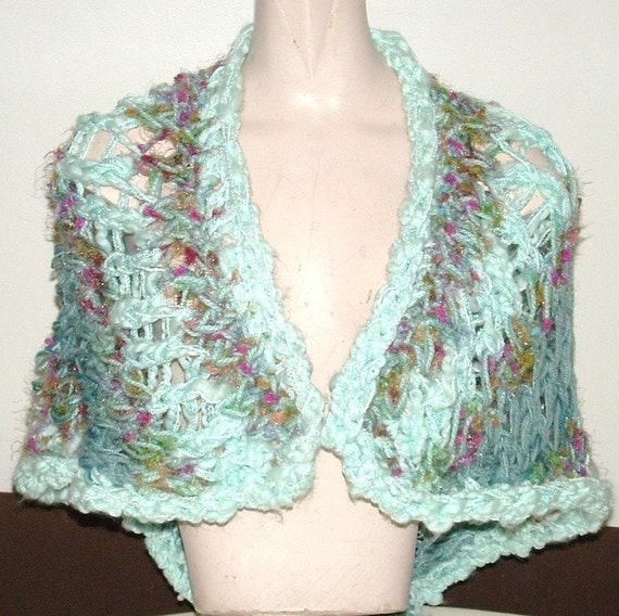 HANDMADE SALE!!!  Chunky knit shawl wrap in lacy stitch one size openwork aqua tones sky and water