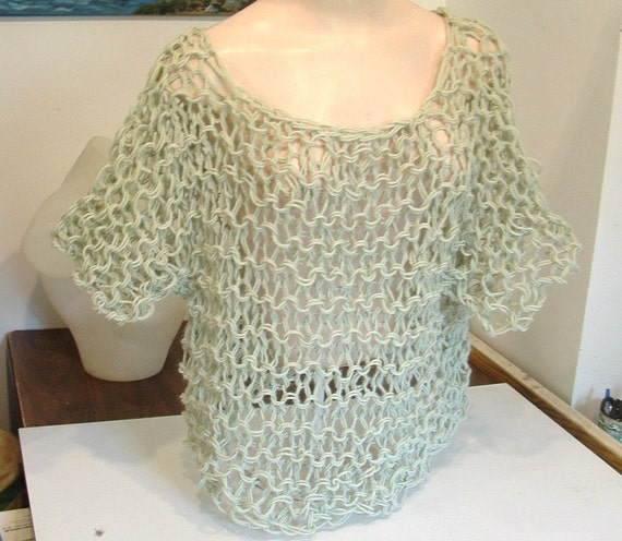 Openwork short pullover handknit slouchy chunky stretchy pale green sweater one size