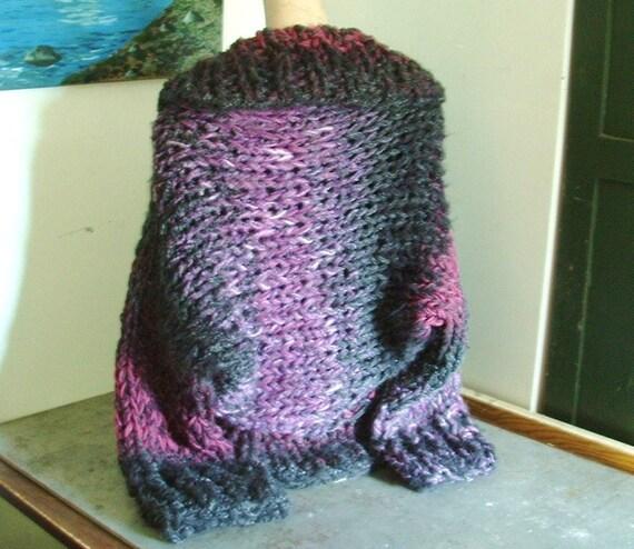 Handknit shrug super chunky knit cardigan sweater jacket cardi shawl collar  large extra large plus women