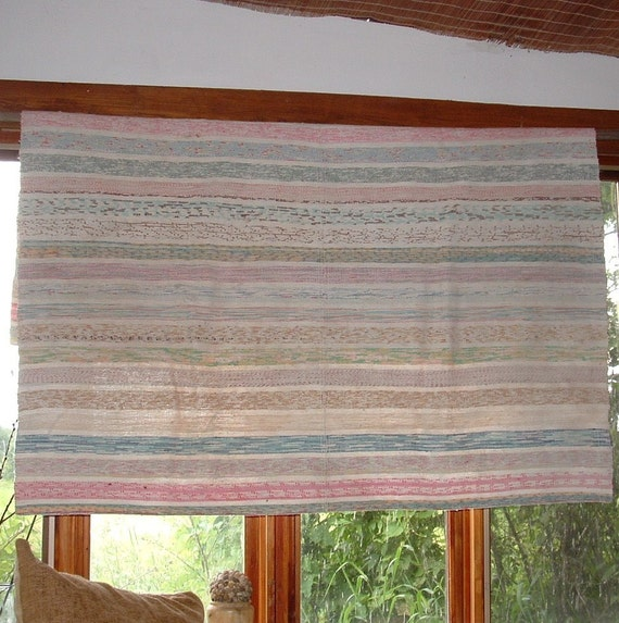 Rag Rug Large: Vintage Quebec Style Hand Woven Rag Rug Or Large Throw Or
