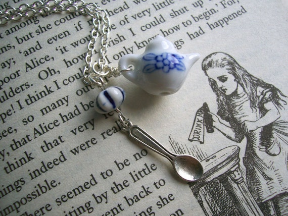 Time For Tea necklace - ceramic teapot and little spoon charm in silver - handmade