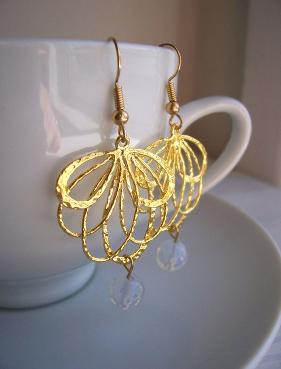 Beautiful Spirograph earrings - gold asymetric swirls with opalescant glass drops - handmade