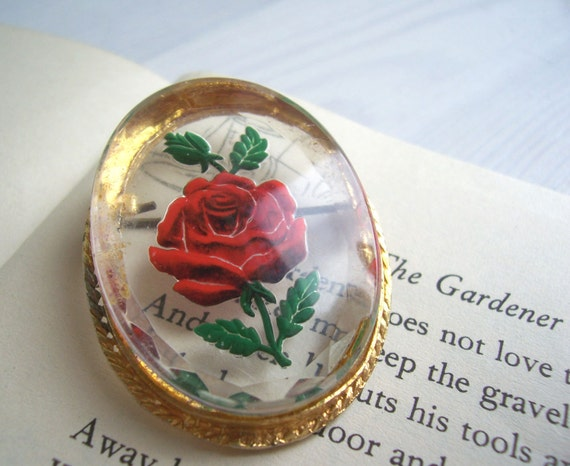 Red Rose vintage brooch - reverse painted lucite - 1950s