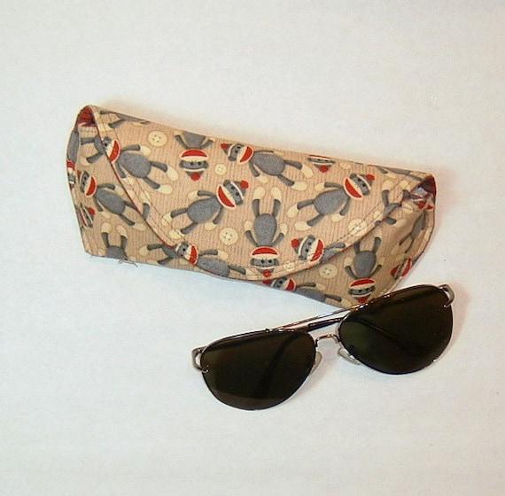 Eyeglass Case or Sunglass Case Large - Sock Monkey
