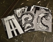 Alphabet Letters Photography - 6 Letters - 4 x 6 Black and White