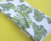 Reusable Children's Flannel Napkins - Set of 4 - Frogs Galore