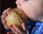 Personalized Heirloom Wooden Baby Ball Toy - Christening/ Baby Naming, Easter Basket